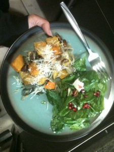 Roasted squash and pomegranate salad