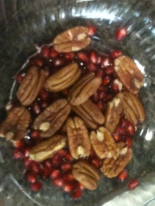 Pecans and pomegranate seeds