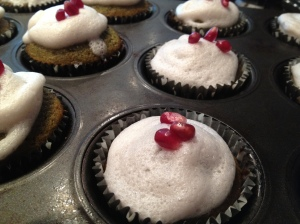 Green Tea Cupcakes with Pomegranate Foam
