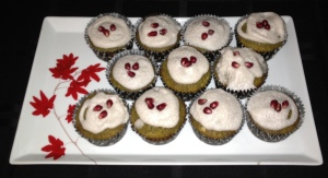 Green tea cupcakes topped with pomegranate foam
